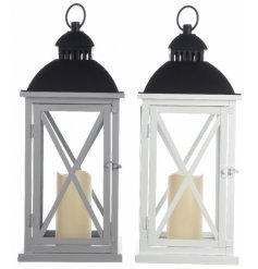 An assortment of 2 White / Grey lanterns with LED candle
