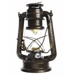 A retro brown metal storm lantern with LED light