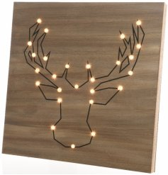 Wall hanging wooden sign with 26 LED lights