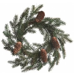 A simple pinecone Christmas wreath