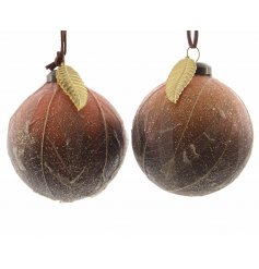 A stylish set of burnt orange glass baubles, perfectly finished with a faux leather hanger and gold leaf decal