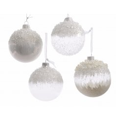 A beautiful assortment of 4 individually designed clear glass baubles, each finished with its own frosty themed look