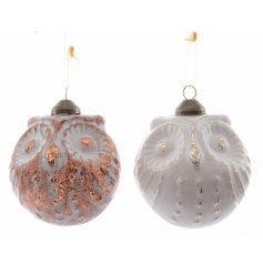 These stylish pure and warm themed hanging glass owls will make a great addition to any tree decal this year