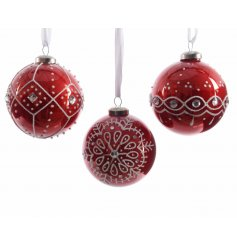 A beautiful assortment of 3 hanging glass baubles, finished with a glitz white and diamond pattern on each