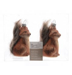 A sweet duo pack of hanging glass fox figures, complete with their fluffy bushy tails A sweet duo pack of hanging glass