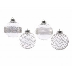 A glitz themed assortment of hanging tree baubles, each finished with a sparkling design