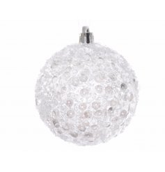 This glam looking round bauble is finished off with white sequins and subtle glitter hints,