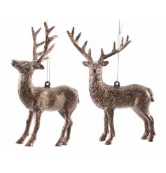 this assorted pair of hanging reindeer figures will be a perfect addition to any woodland themed decal