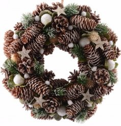Add a delicate woodland feel to your front door this christmas with this beautiful pinecone and snowball based wreath