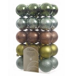 This inspired by nature themed set of baubles will add that tranquil feel of the forest floors to your home