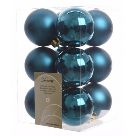 pack of 12 matte and shine baubles peacock blue - Peacock Blue Christmas Decorations