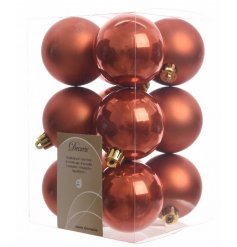 This stylish pack of 12 burn orange coloured shatterproof baubles, a 6 assort mixture of Matte and Shine effect