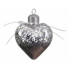 A glitz themed pack of 3 hanging heart baubles