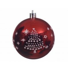 A gloss finished traditional red shatterproof bauble, finished with a dotted white tree design