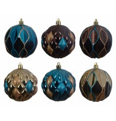 A pack of 3 sparkly baubles with graphic design