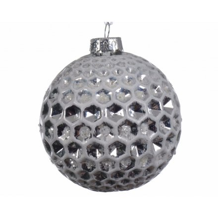 A modern Luxe looking bauble, designed with a honeycomb pattern and grey colouring