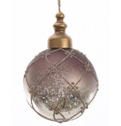 A brown and gold antique glass glitter bauble