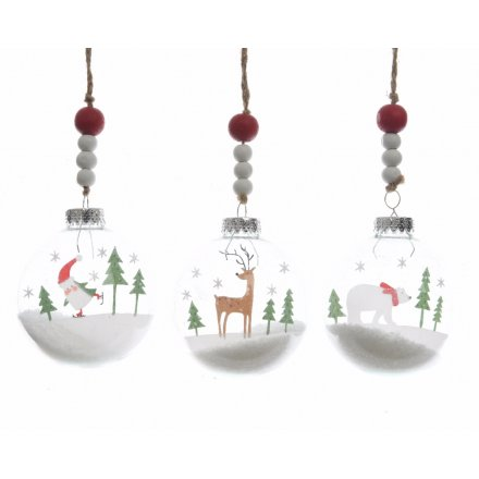 Christmas Scene Baubles With Wooden Beads, 3 Assorted