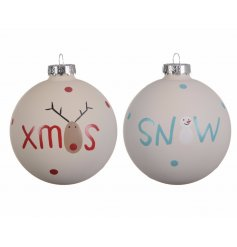A pack of 2 baubles with painted