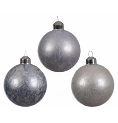 An assortment of 3 white, midnight blue and ice blue frosted effect baubles.