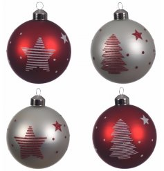 Red and White Striped Glitter Baubles, 4 Assorted Designs