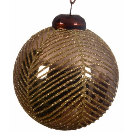 A box of 3 brown glass baubles with bronze glittery stripes