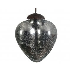 A silver crackled heart hanging decoration