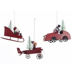 An assortment of 3 Festive Vehicle Hanging Decorations