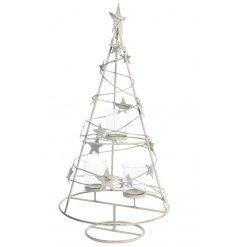 A grey iron Christmas tree tealight holder