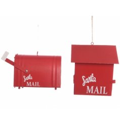 An assortment of 2 red iron mailbox hanging decorations
