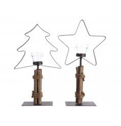 An assortment of 2 Iron and driftwood festive tea light holder