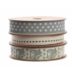 3 assorted cream / grey craft ribbons
