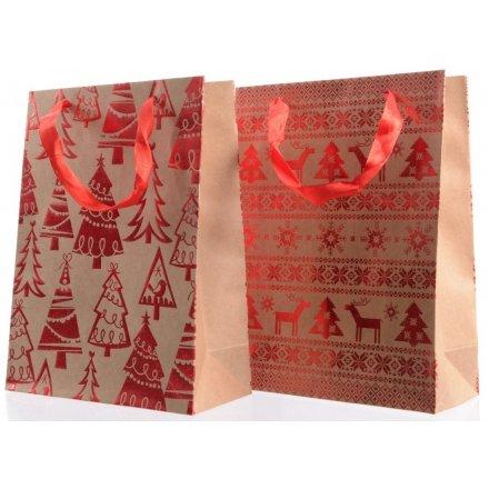 24cm Christmas Craft Bags 2 Assorted 33878 Christmas