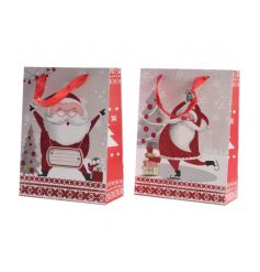 An assortment of 2 fun Santa gift bags with ribbon hangers. The perfect wrapping solution this season.