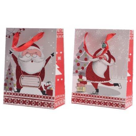 Christmas Counter.Jolly Santa Gift Bag 2a 24cm 33880 Christmas Counter
