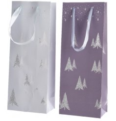 An assortment of 2 purple/silver wine bags