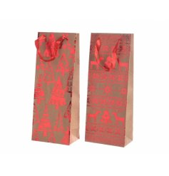 An assortment of 2 brown and red paper craft wine bags