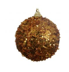 A chic foam bauble decorated with gold glitter sequins. A stylish decoration for your tree this season.