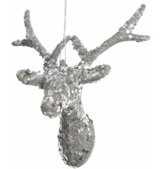 Add some sparkle to that Christmas tree with this silver glitter reindeer hanger.