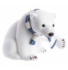 A white foam sitting polar bear decoration