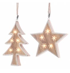 A mix of 2 unique LED hanging decorations in tree and star designs.