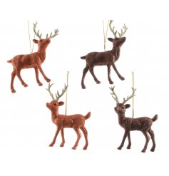 A mix of 4 woodland reindeer hanging decorations, each with a glitter finish.