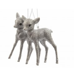 Adorn your tree with this set of 2 adorable silver glitter fawn decorations.