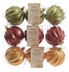 Beautifully finished shatterproof baubles in ornate gold, red and green colours.
