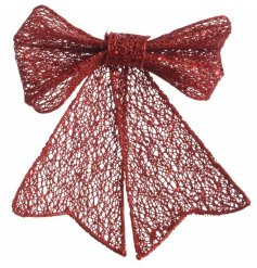 A large red bow with a glitter finish. Perfect for dressing trees, garlands, wreaths and gift wrap.