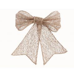 Plastic bow with glitter and mesh material. Perfect for manipulating into shape for garlands, wreaths, trees and gift wr