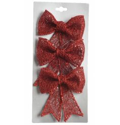 A set of 3 red glitter bows. The perfect seasonal accessory for wreaths, garlands and trees.