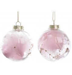 A mix of 2 enchanting shatterproof baubles filled with pink feathers and gold stars.