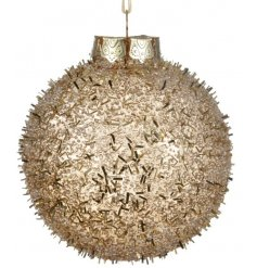 A stylish shatterproof snowball style bauble in gold with a glitter finish.