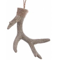 A chic gold sequin antler with a hessian hanger.